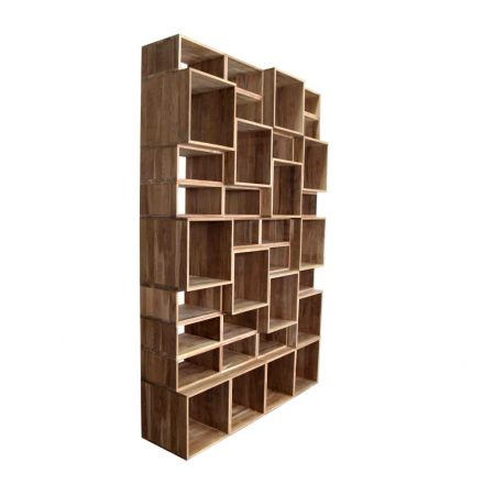 Teak book case module square boxes or rectangular
