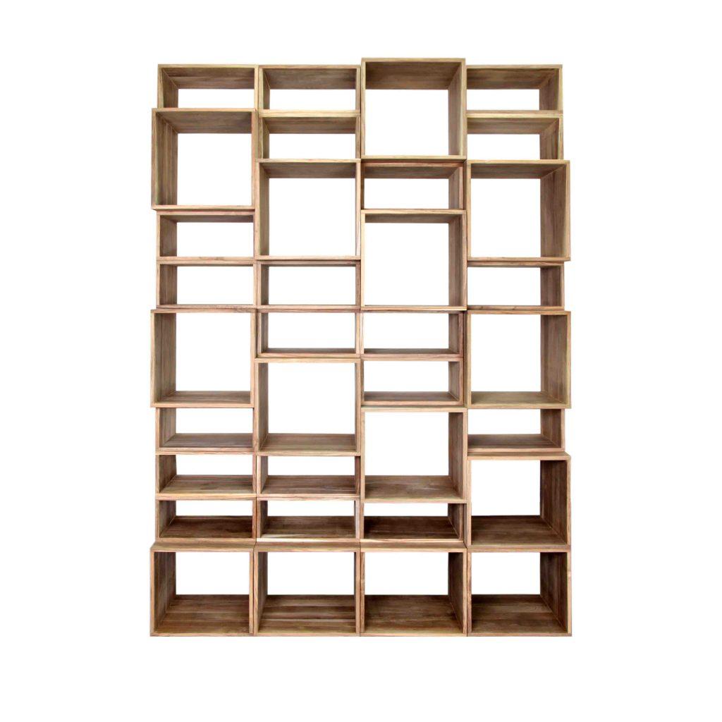 Teak book case module square boxes or rectangular