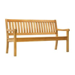 Teak bench 3 seater ergonomic slats natural finished and knockdown