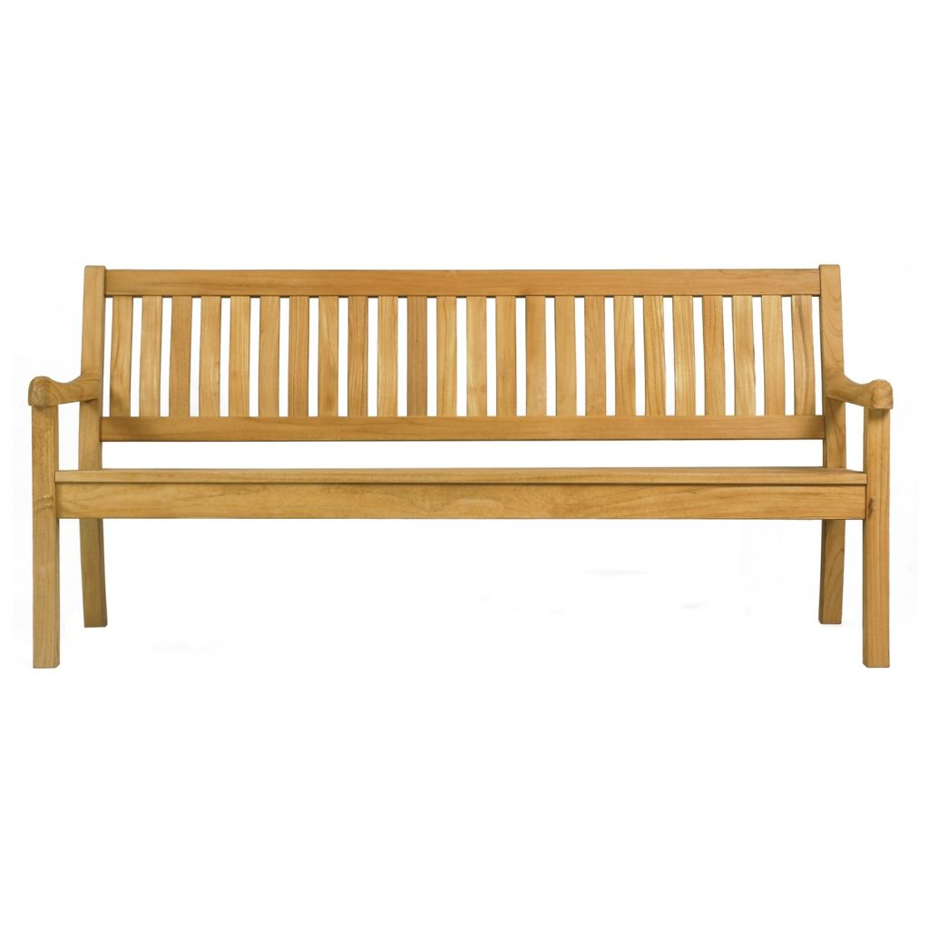 Teak bench 4 seater ergonomic slats natural finished and knockdown