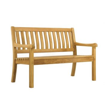 Teak bench 2 seater ergonomic slats natural finished and knockdown