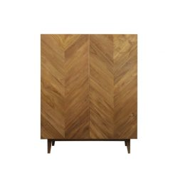 Martha Cupboard Teak Oil Finished herringbone pattern push button to open and close Grade A cupboard