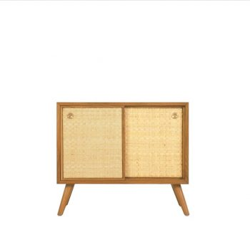 Teak danish vintage TV cupboard with oil finished grade A and Natural rattan finished solid brass handle