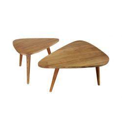 Danish vintage retro teak solid triangle coffee table large and small sets with oil finished
